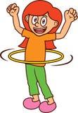演奏Hula箍动画片的愉快的女孩 免版税图库摄影
