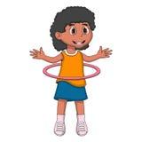 演奏hula蛇麻草的小女孩 库存照片