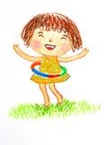 演奏hulahoop油蜡笔画例证的女孩 免版税库存照片