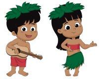演奏ukelele和女孩hula跳舞的夏威夷男孩 传染媒介和il 免版税库存照片