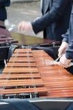 演奏vibraphon的人 免版税库存照片