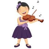 演奏Violi的一个小女孩的传染媒介例证 免版税库存照片