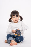 演播室三岁的亚裔婴孩画象射击-被隔绝 库存图片