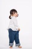 演播室三岁的亚裔婴孩画象射击-被隔绝 免版税库存图片