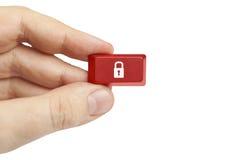 拿着安全计算机键盘的手 图库摄影