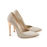 演播室射击了一个对灰色高跟的女性鞋子 免版税库存照片