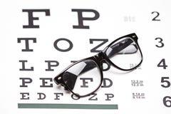演播室射击了一副眼镜在视力检查表的 图库摄影