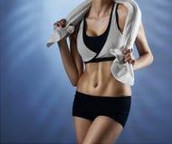 演播室的健身妇女 库存照片