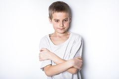 演播室的被注重的哀伤的男孩 库存照片