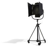 演播室聚光灯在白色隔绝的照明设备 库存照片