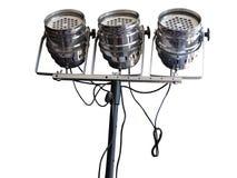 演播室聚光灯在白色隔绝的照明设备 免版税库存图片