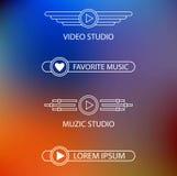 演播室音乐和录影的商标的模板  库存照片