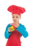 演播室画象男孩作为一点厨师 免版税库存照片