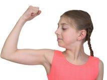 演示女孩肌肉系统我们 免版税库存照片
