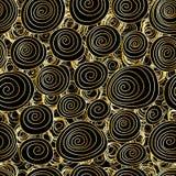 漩涡图画金线明亮的无缝的样式 免版税图库摄影