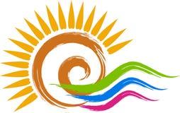 漩涡太阳商标 免版税库存照片