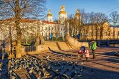 年轻漫步在Krasnogvardeysky桥梁附近的母亲和婴孩 库存照片