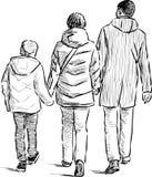 漫步的家庭 免版税库存照片
