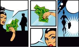 漫画书与妇女人和货币Talkin的样式横幅 库存图片
