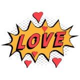 漫画书与心脏流行艺术样式的词爱有半音背景,导航充满表示文本爱的可笑的讲话泡影 库存例证