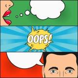 漫画书页设计  有讲话的女孩对话和人起泡激动-哟 妇女` s嘴唇和男性面孔与眼睛 向量例证