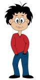 漫画人物喜怒无常的少年 库存照片