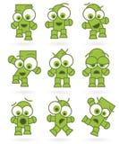 漫画人物滑稽的绿色妖怪机器人集 免版税库存照片