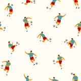 漫画人物球员足球体育运动 模式无缝的向量 免版税库存照片
