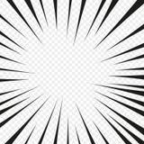 漫画在透明被隔绝的背景的一刹那爆炸辐形线 一刹那光芒疾风焕发 超级英雄 向量 向量例证