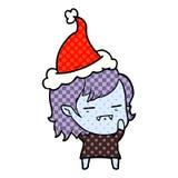 漫画戴圣诞老人帽子的不死吸血鬼女孩的样式例证 库存例证