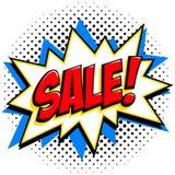 漫画样式销售标记 红色销售网横幅 流行艺术可笑的销售折扣促进横幅 背景大销售额 向量例证