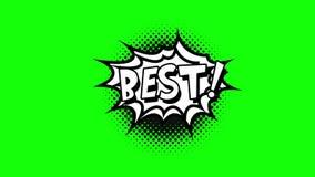 漫画讲话泡影动画片动画,与词最佳的白色文本,黑形状,绿色背景 皇族释放例证