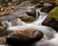 漫过岩石和冰砾的水 库存图片