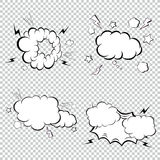 漫画书爆炸、炸弹和疾风集合、动画片燃烧弹,轰隆和爆炸 流行艺术样式 向量例证