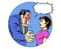 漫画书说明了恼怒的经理叫喊对秘书 库存图片