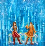 漫画人物小强盗女孩和Lappish妇女的童话安徒生写的雪女王/王后 免版税库存照片