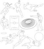 漫画人物球员足球体育运动 免版税库存图片