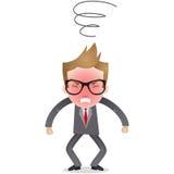 漫画人物:愤怒的商人 免版税库存照片