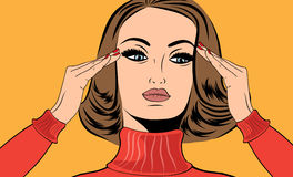 漫画样式的流行艺术减速火箭的妇女以偏头痛 库存照片