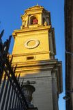 潘普洛纳大教堂的钟楼,在纳瓦拉,西班牙,建筑细节 免版税库存图片
