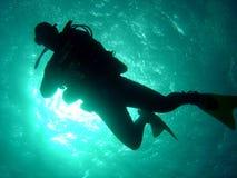 潜水员下落 库存图片