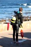 潜水员指向 免版税库存照片