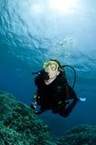 潜水员测试的水肺在海中 免版税库存图片