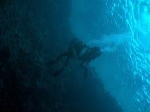 潜水员海洋表面techno二下 免版税库存图片