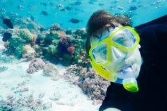 潜水员照片水下水肺的自 免版税库存图片