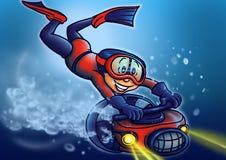 潜水员闪亮指示一点 免版税库存照片