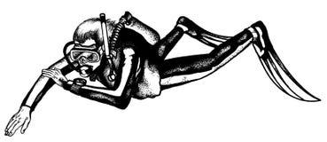 潜水员驾驶水肺在水面下 免版税库存图片