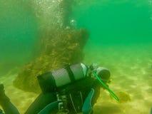 潜水在houcima海湾 免版税库存照片