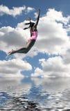 潜水女孩天空泳装 免版税库存图片