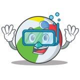 潜水球字符动画片样式 免版税库存照片
